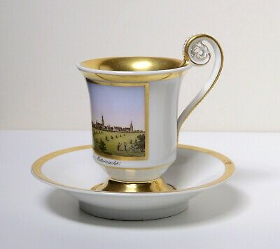 19С Antique Empire KPM Porcelain Cup n Saucer Greifswald Topographical