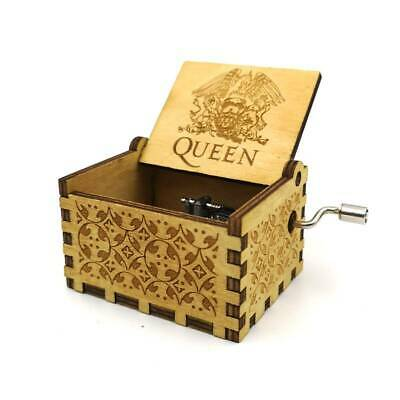 Antiqued Wooden Engraved Queen Music Box Hand Crank Kids Birthday Christmas Gift
