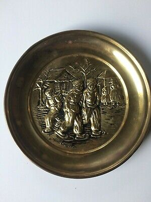 Vintage Brass Wall Decor Plate Ice Skating Scene Made in England Tavern Peerage