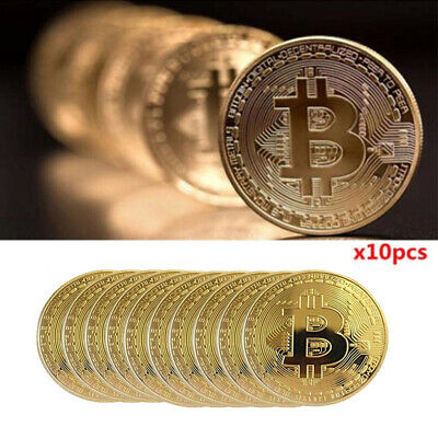 10XNew Bitcoin Physical Collectible Coin BTC Gold Plated 1 Ounce 40mm - UK STOCK