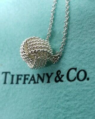 """Tiffany & Co Sterling Silver 925 Twist Knot Pendant on 16""""inch Necklace"""