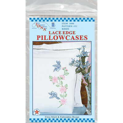 Jack Dempsey Stamped Pillowcases W/White Lace Edge 2/Pkg-Birds, 1800 31