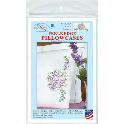 Jack Dempsey Stamped Pillowcases W/White Perle Edge 2/Pkg-Floral Bouquet