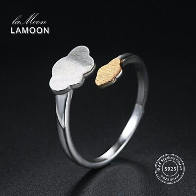Silver and Gold Cloud  Open Design Rings 925 Silver Fine Jewelry Anti-allergy