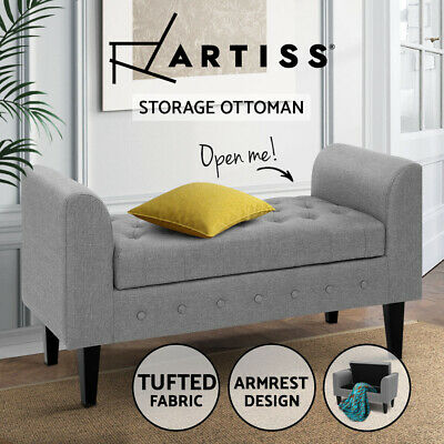 Artiss Storage Ottoman Blanket Box Linen Fabric Bed Foot Stool Chest Toy Bench