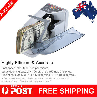 AU Handy Bill Cash Banknote Counter Money Counting Machine AC /Battery Powered