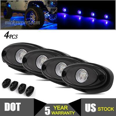4x Blue LED Rock Lights Lamps for JEEP Ford ATV Offroad Truck Trail Underbody