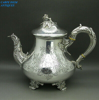 ANTIQUE VICTORIAN STUNNING SOLID STERLING SILVER ENGRAVED TEAPOT 664g LON 1854