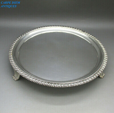 ANTIQUE GEORGE IV GOOD HEAVY SOLID STERLING SILVER SALVER TRAY 461g LONDON 1823