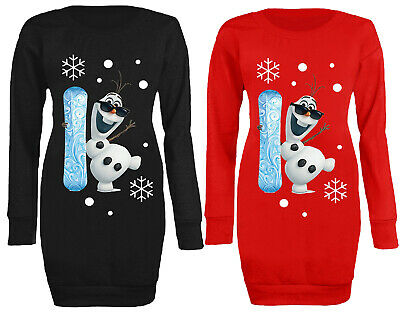 Womens Cute Olaf Frozen Snowboard Novelty Christmas Long Jumper Mini Dress 8-20