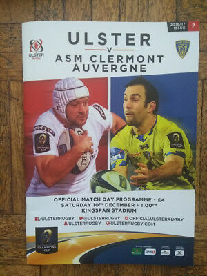 ULSTER v ASM CLERMONT AUVERGNE, DECEMBER 2016, RUGBY PROGRAMME, VG CONDITION.