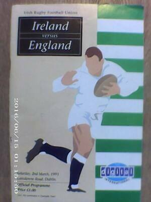 IRELAND v ENGLAND, MARCH 1991, RUGBY PROGRAMME.