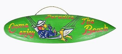 Hand Carved Come Enjoy Beach Wood Tiki Parrot Surfboard Sign Bar Pool Tropical