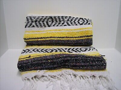 """Authentic Yellow Mexican Falsa Blanket Hand Woven Yoga Mat Blanket  74"""" x 50"""""""