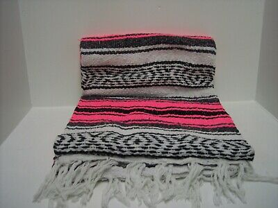 """Authentic Neon Pink Mexican Falsa Blanket Hand Woven Yoga Mat Blanket  74"""" x 50"""""""
