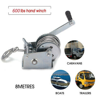 8m Manual Hand Winch Crank Strap Gear Car Truck Boat Marine Trailer Rope 600lbs