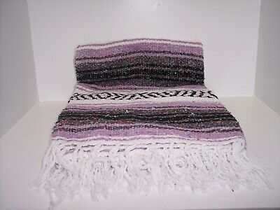 """Authentic Lilac Mexican Falsa Blanket Hand Woven Yoga Mat Blanket  74"""" x 50"""""""