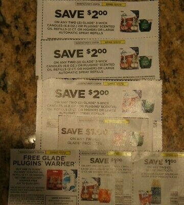 Lot of Glade Coupons Candles Plug-Ins Save Over $10
