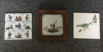 Vintage Handpainted Dutch Tiles Made In Holland 1 In Wooden Frame Windmill Bird