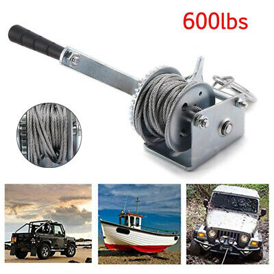 8m Manual Hand Crank Strap Gear Winch Car Truck Boat Marine Trailer Adjustable