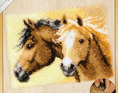 TWO HORSES LATCH HOOK RUG KIT by VERVACO, BRAND NEW from UK Seller