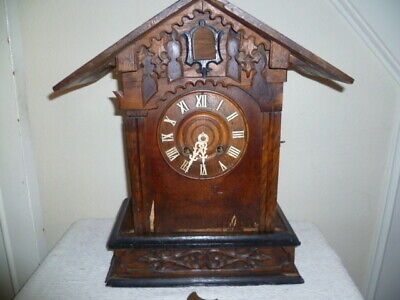 Antique,Black Forest, Cuckoo Mantle Clock, Working, Case Needs Restoration.