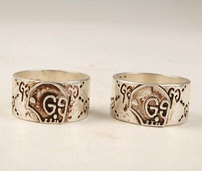 2 Retro China Tibetan Silver Handmade Rings Exclusive Customization Old