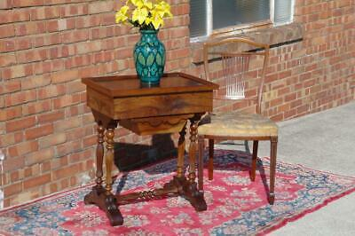 Antique French Burr Walnut Work Table Sewing Box / Side Table With Lock c.1870's