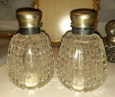 2 1800s sterling silver mounted Heavy cut Glass scent bottle John Grinsell