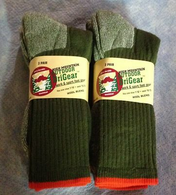3pr Men's DRI-GEAR Wool Blend Boot/Outdoor/Hiking Crew Socks..DK Green LG 10-13
