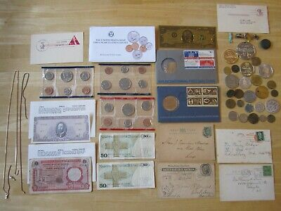 Junk Drawer Lot:  Tokens, Scrap Sterling, Coins, Foreign Currency, postcards