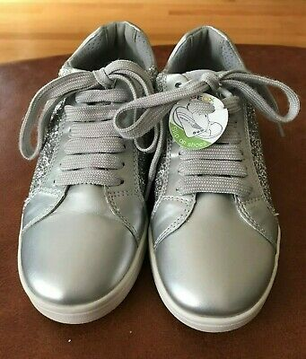 GEOX RESPIRA GIRLS SILVER WHIT GLITTER LACE UP CASUAL SNEAKERS SHOES Size:4