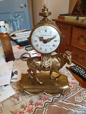 Brass french antique mantel clock