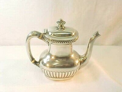 "Antique Silver Soldered Small 6"" Heavy Teapot by Reed & Barton #335"