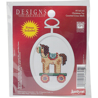 "Janlynn Mini Counted Cross Stitch Kit 2.75"" Oval-Christmas Toy (18 Count)"
