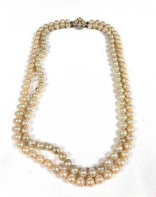 "vintage 24"" double strand faux pearl necklace with fancy clasp"