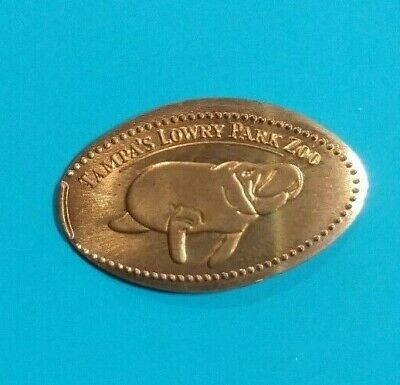 MANATEE Sea Cow Tampa's Lowry Park Zoo Florida Elongated Copper Penny RETIRED