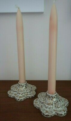 vintage WADE England floral filigree CANDLE STICK HOLDERS white & gold