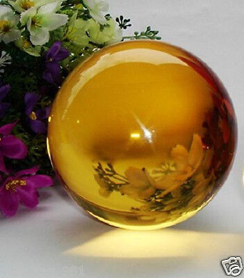 40MM+Stand Natural yellow Obsidian Sphere Large Crystal Ball Healing Stone n5