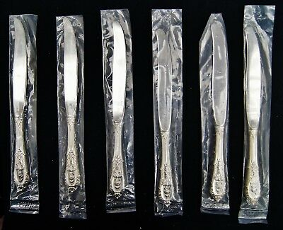 """Lot Of 6 Wallace Sterling/Stainless ROSE POINT 9"""" Dinner Knives In Bags (A6020)"""