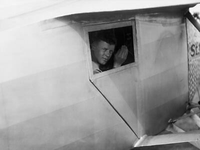 G6791 Charles Lindbergh Waving From Airplane Vintage Photo Laminated Poster DE