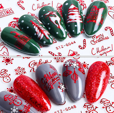 Christmas 3D Nail Art Transfer Stickers Flower Decals Manicure Decoration Tips