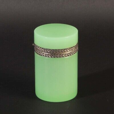 French opaline glass box zylindrical light green ornamented silver metal vintage
