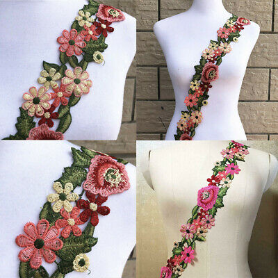 Flower Trim Lace Ribbon Embroidered DIY Sewing Dress Applique Crafts Decor Acces