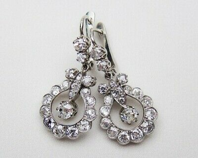 Vintage Antique Fine Engagement Earrings 2.5Ct Round Diamond 925 Sterling Silver
