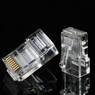 100PCS RJ45 Pass Through Open End Cat5 Cat5e Cat6 Modular Plug Connector Network