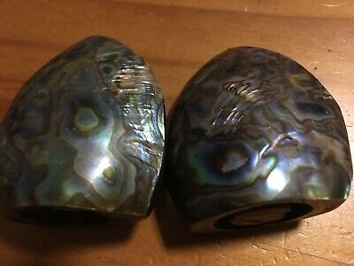 Vintage New Zealand Fiordland Souvenir Paua Shell Salt and Pepper Shakers
