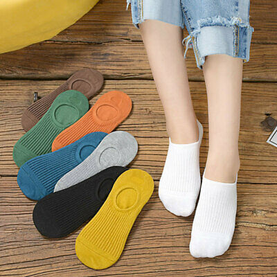 3 Pairs Girls Casual Breathable Ankle Boat Socks Invisible Black Cotton Socks E