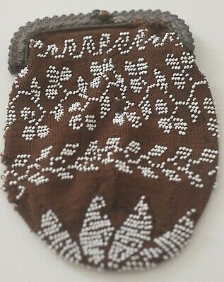 Antique Tiny FRENCH BEADED CHANGE PURSE Bag VV17