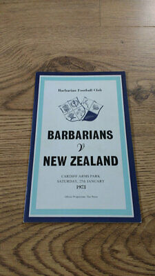 Barbarians v New Zealand 1973 Rugby Union Programme